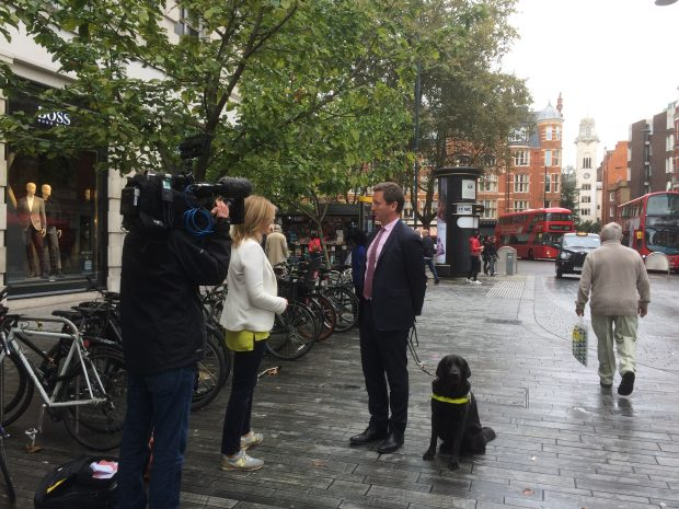 Filming with BBC Breakfast at Sloane Square shared space. Chris and Lottie speaking to journalist.
